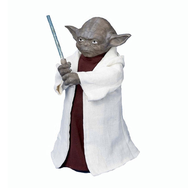 "Kurt Adler 12"" Battery-Operated Star Wars Yoda with LED Light Saber Treetop"