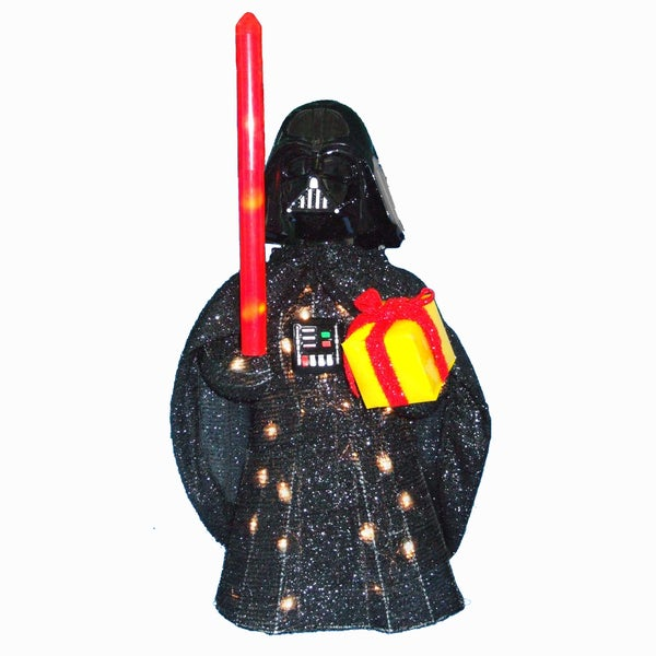 "Kurt Adler 28"" Star Wars Darth Vader Light-Up Tinsel Lawn Dcor"