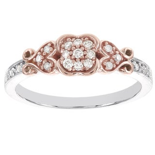 H Star Sterling Silver and 10k Rose Gold 1/6ct TDW Diamond Promise Ring (I-J, I2-I3)