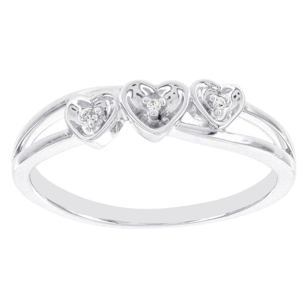 H Star Sterling Silver Diamond Accent Triple Heart Promise Ring (I-J, I2-I3)