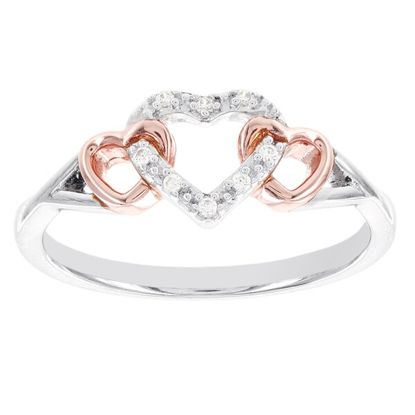 H Star Sterling Silver and Rose-plated Diamond Accent Triple Heart Promise Ring (I-J, I2-I3)