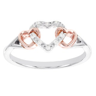 H Star Sterling Silver and Rose-plated Diamond Accent Heart Promise Ring (I-J, I2-I3)
