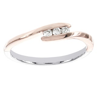 H Star Sterling Silver and 10k Rose Gold 1/10ct TDW Diamond 3-stone Promise Ring (I-J, I2-I3)
