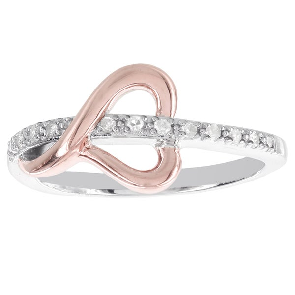 H Star Sterling Silver and 10k Rose Gold 1/10ct TDW Diamond Accent Heart Ring (I-J, I2-I3)