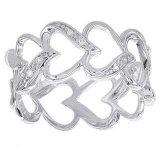 H Star Sterling Silver Diamond Accent Heart Band Ring (I-J, I2-I3)