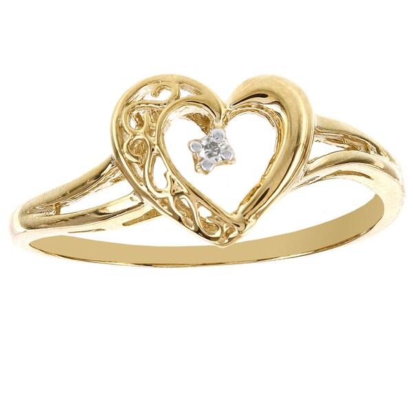 H Star 10k Yellow Gold Diamond Accent Heart Promise Ring (I-J, I2-I3)