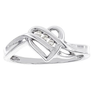 H Star 14k White Gold Diamond Accent Heart Promise Ring (H-I, I2-I3)