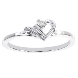 H Star 14k White Gold Diamond Accent Heart-shaped Promise Ring (H-I, I1-I2)