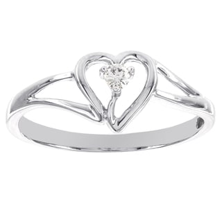 H Star 14k White Gold Diamond Accent Heart Promise Ring (H-I, I1-I2)