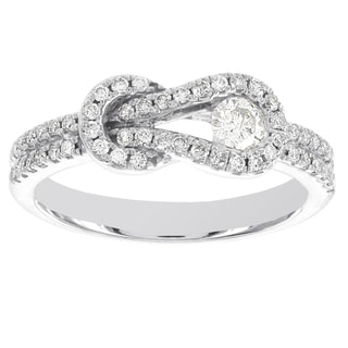 H Star 10k White Gold 1/2ct TDW Diamond Love Knot Infinity Eternity Ring (I-J, I2-I3)