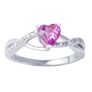H Star Sterling Silver Created Pink Sapphire and Diamond Ring (H-I, I1-I2)