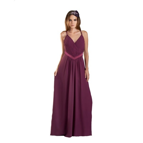 Bari Jay Women's V-neck Shirred Bust V-Charmeuse Gown