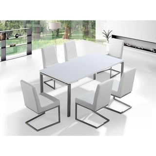 Stainless steel white Dining Table 180cm - 6 chairs in color of choice - Arctic II