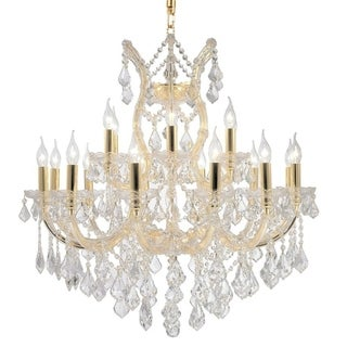 """Maria Theresa Collection 19 Light Gold Finish and Clear Crystal Chandelier Two 2 Tier 30"""" x 28"""""""