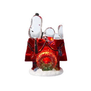 Kurt Adler 3 Inch Battery-Operated Snoopy with Doghouse LED Tablepiece