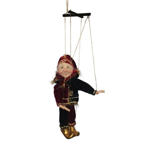Kurt Adler 7 Inch Jacqueline Kent Miniature Red, Green and Gold Marionette Ornament