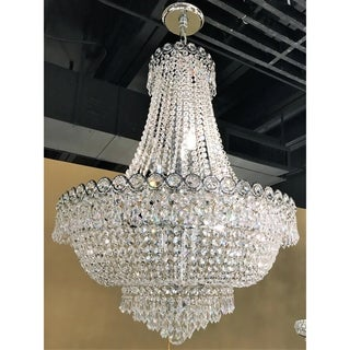 "French Empire Collection 12 light Chrome Finish and Clear Crystal Chandelier 24"" x 32"""