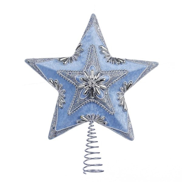 Kurt Adler 13.5-Inch Pale Blue and Silver Star Treetop
