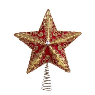 Kurt Adler 13.5-Inch Red and Gold Velour and Lame' Star Treetop