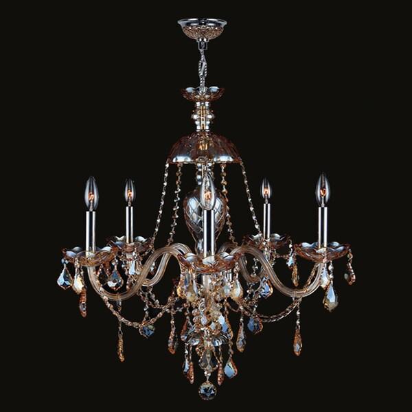 Indoor 6 Light Chrome Crystal Candle Light Chandelier