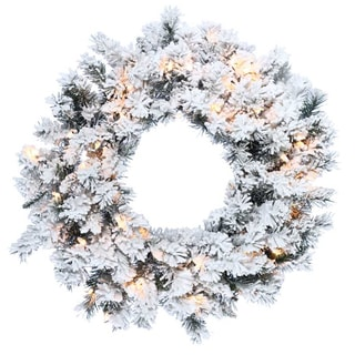 "Kurt Adler 30"" Pre-Lit Flocked Norway Pine Wreath"
