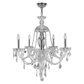 Venetian Collection 5-light Chrome Finish and Clear Crystal 25 x 28-inch Chandelier