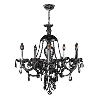"""Venetian Collection 5 light Chrome Finish and Smoke Crystal Chandelier 25"""" x 28"""""""