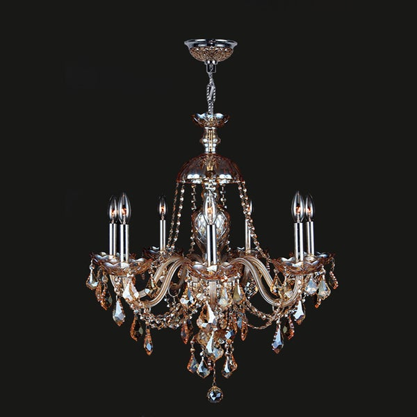 "Venetian Collection 7 Light Chrome Finish and Amber Crystal Chandelier 26"" x 28"""
