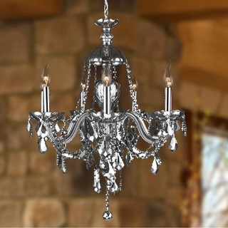 """Venetian Collection 7 Light Chrome Finish and Smoke Crystal Chandelier 26"""" x 28"""""""