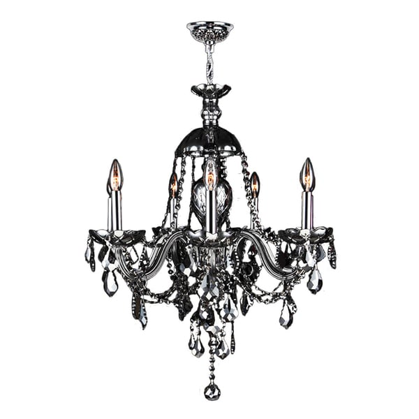 "Venetian Collection 7 Light Chrome Finish and Smoke Crystal Chandelier 26"" x 28"""