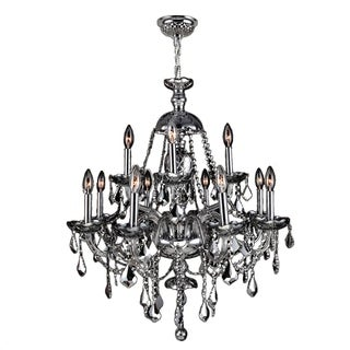 "Venetian Collection 12 Light Chrome Finish and Chrome Crystal Chandelier 28"" x 31"" Two 2 Tier"