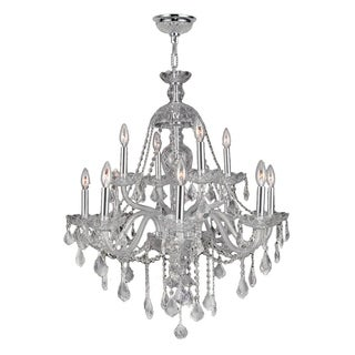 """Venetian Collection 12 Light Chrome Finish and Clear Crystal Chandelier 28"""" x 31"""" Two 2 Tier"""