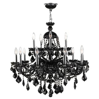 """Venetian Collection 15 Light Chrome Finish and Black Crystal Chandelier 25"""" x 31"""" Two 2 Tier"""