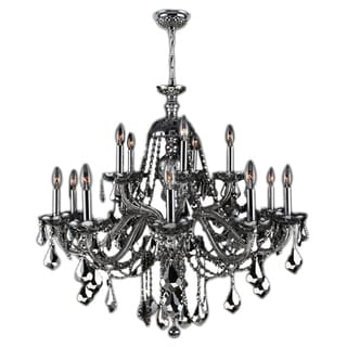 """Venetian Collection 15 light Chrome Finish and Chrome Crystal Chandelier 25"""" x 31"""" Two 2 Tier"""