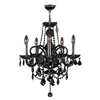 """Venetian Collection 5 light Chrome Finish and Black Crystal Chandelier 20"""" x 22"""""""
