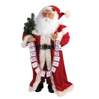 Kurt Adler 36 in. Standing Santa with Merry Christmas Banner