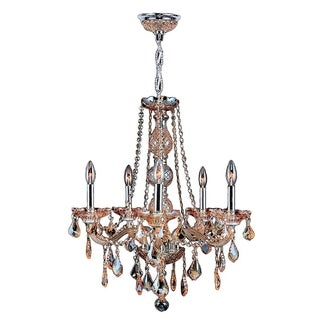"Venetian Collection 5 Light Chrome Finish and Amber Crystal Chandelier 21"" x 26"""