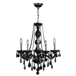 """Venetian Collection 5 light Chrome Finish and Black Crystal Chandelier 21"""" x 26"""""""