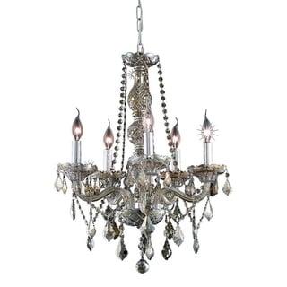 "Venetian Collection 5 light Chrome Finish and Golden Teak Crystal Chandelier 21"" x 26"""