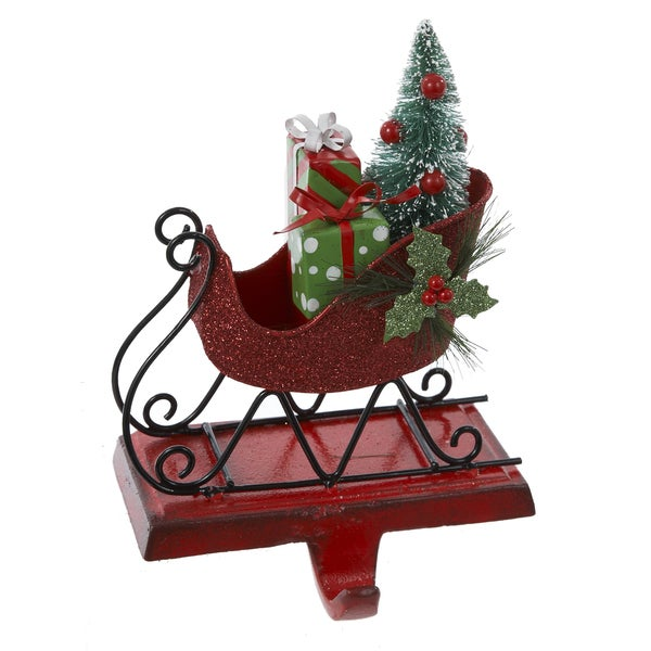 Kurt Adler Tin Red Glitter Sleigh Stocking Holder