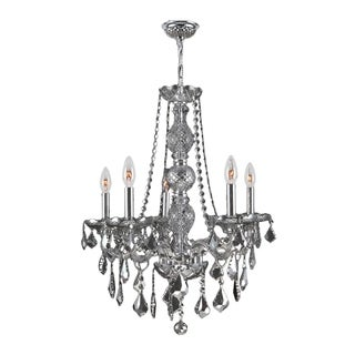 """Venetian Collection 5 Light Chrome Finish and Smoke Crystal Chandelier 21"""" x 26"""""""