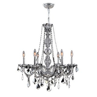 """Venetian Collection 6 Light Chrome Finish and Smoke Crystal Chandelier 24"""" x 28"""""""