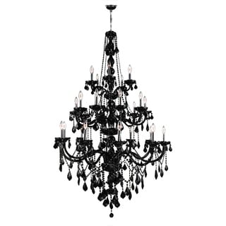 "Venetian Collection 25 Light Chrome Finish Black Crystal Three Tier Chandelier 43"" x 68"" Three 3 Tier"