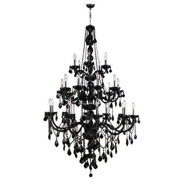 Venetian Collection Five Light Chrome Finish Black Crystal Three Tier Chandelier  Three