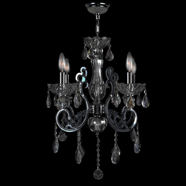 """French Scroll Collection 4 Light Chrome Finish and Black Crystal Chandelier 20"""" x 24"""""""