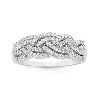 10K White Gold, 0.50 CT Diamond Criss Cross Braid Band (H-I, I1-I2)