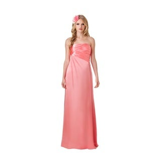 Bari Jay Fashion Strapless Pleated Bodice Charmuese Gown