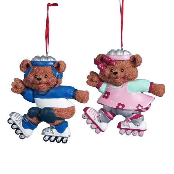"Kurt Adler 4"" Boy/Girl Roller Skating Bear Ornament Set of 2"