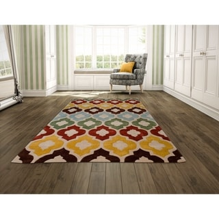 LYKE Home Hand Carved Multi Trellis Area Rug (8' x 10')