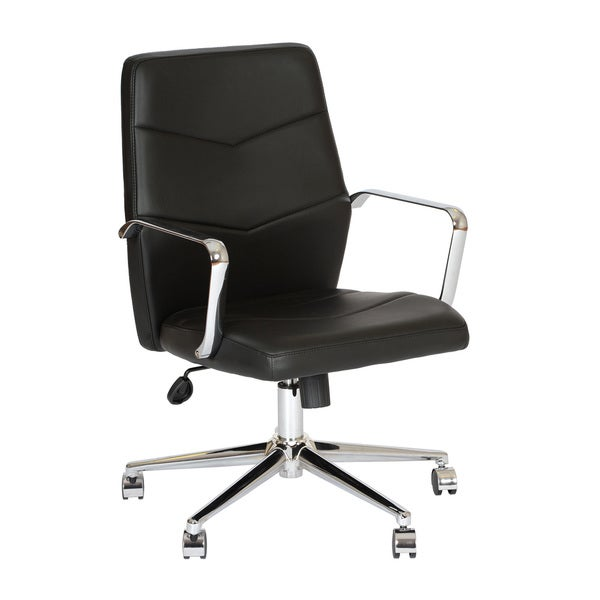 Armen Living Viken Contemporary Office Chair In Leatherette and Chrome